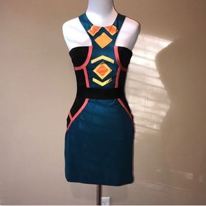 BCBG color block body con dress